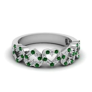 Platinum Emerald Wedding Band
