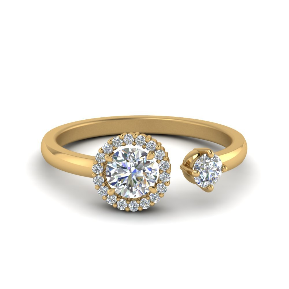 Round Halo Diamond Open Ring