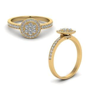 Round Halo Diamond Ring In 14K Yellow Gold