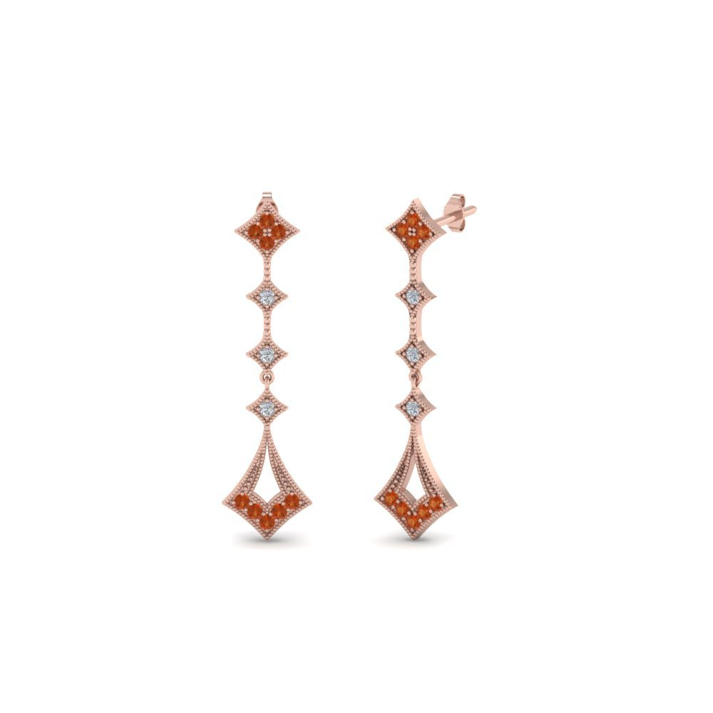 Round Milgrain Drop Diamond Earring With Orange Sapphire In 14K Rose Gold