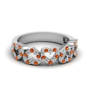 Orange Sapphire Open Heart Band