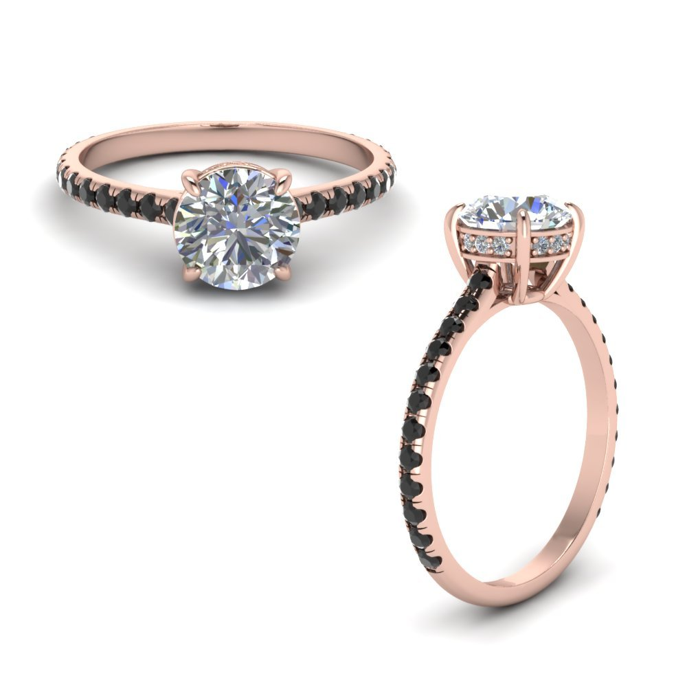 Round Petite Ring With Black Diamond In 18K Rose Gold