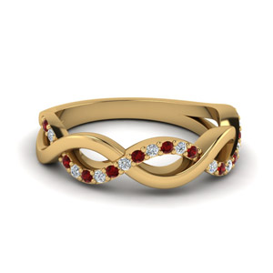 Infinity Diamond Wedding Band With Ruby