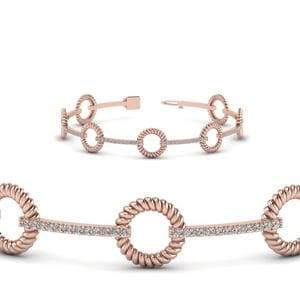 Round Rope Design Diamond Bracelet In 18K Rose Gold