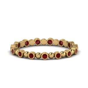 Ruby Bezel Bead Anniversary Band