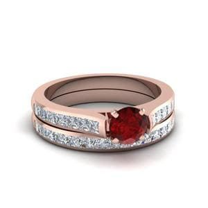 Cathedral Ruby Wedding Ring Set