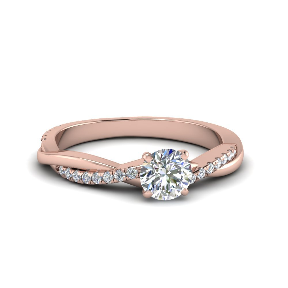 Round Twisted Diamond Ring Rose Gold