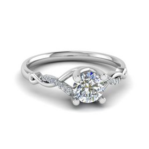 Round U Prong Twisted Diamond Engagement Ring In 14K White Gold