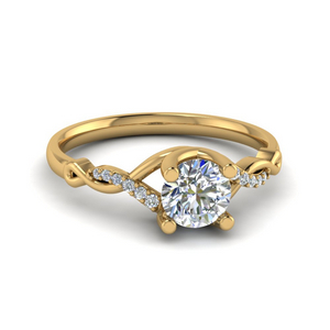 Round U Prong Twisted Diamond Engagement Ring In 14K Yellow Gold