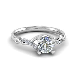 U Prong Twisted Diamond Engagement Ring In 18K White Gold