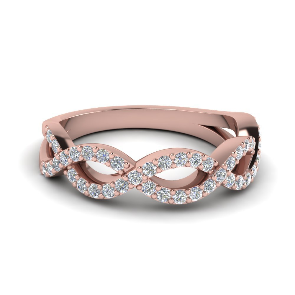 Infinity Twist Diamond Wedding Band In 14K Rose Gold
