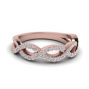 Infinity Twist Diamond Wedding Band In 18K Rose Gold