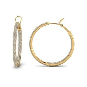 Pave Inside Out Diamond Hoop Earring In 18K Yellow Gold