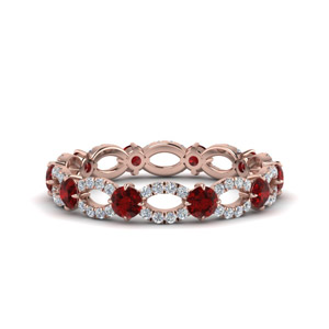 1.50 Ct. Ruby And Diamond Eternity Ring