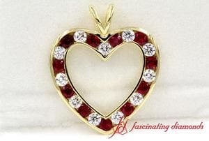 Ruby Heart Design Diamond Pendant For Women In Yellow Gold