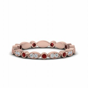 Milgrain Diamond Band With Ruby