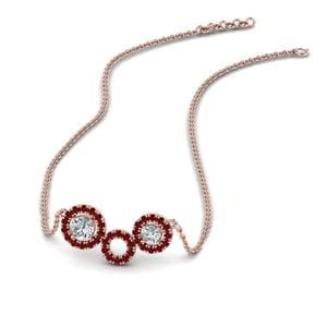 Ruby Circle Pendant Necklace