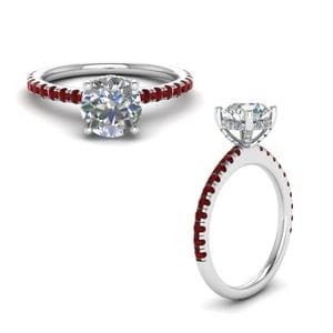 Ruby Diamond Prong Round Petite Ring In 18K White Gold