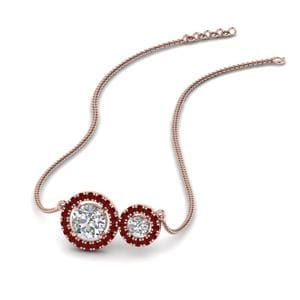 Dual Ruby Halo Diamond Pendant