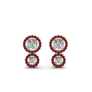 Dual Halo Ruby Stud Earring