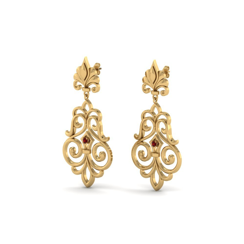 Ruby Filigree Dangle Drop Earring In 14K Yellow Gold