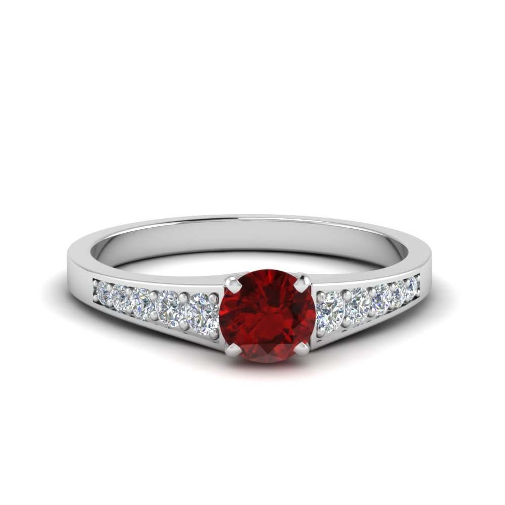 Graduated Ruby Engagement Ring
