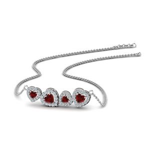 Ruby Heart Halo Necklace