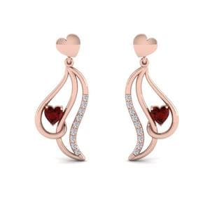 Pave Set Ruby Heart Earring