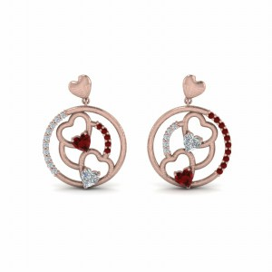 18K Rose Gold Heart Stud Drop Earring