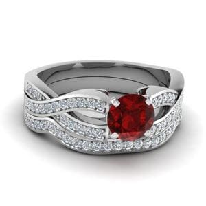 Ruby Infinity Diamond Bridal Set In 14K White Gold