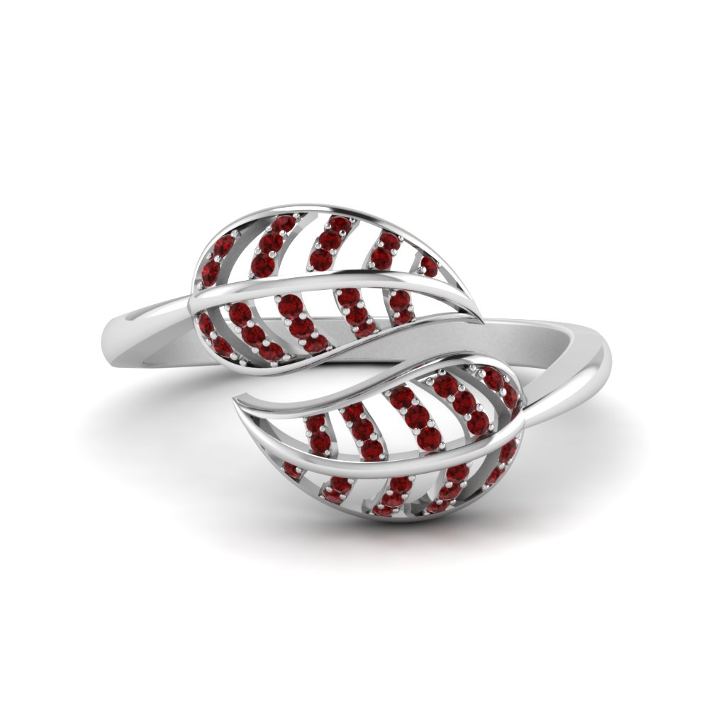 Ruby Leaf Bypass Ring In 18K White Gold
