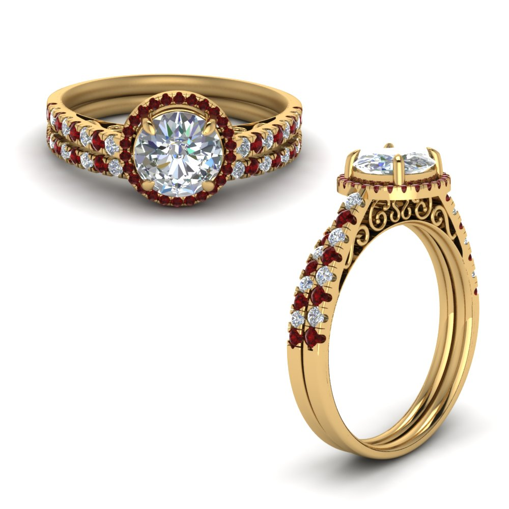 Ruby Gold Engagement Set