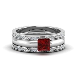 Ruby Princess Cut Trio Bridal Ring Set In 14K White Gold