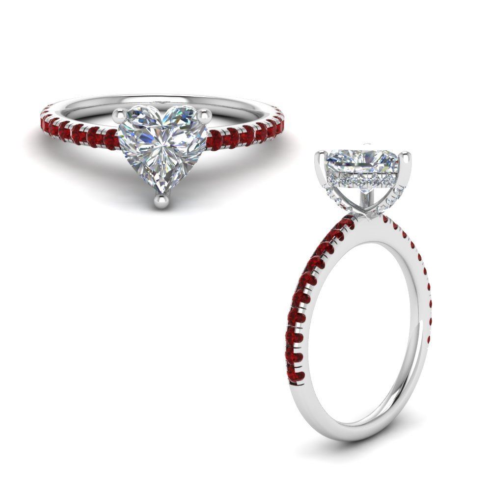 Ruby Prong Heart Shaped Diamond Petite Engagement Ring In 14K White Gold