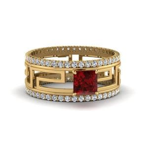 Ruby Solitaire Trio Ring With Eternity Band In 14K Yellow Gold