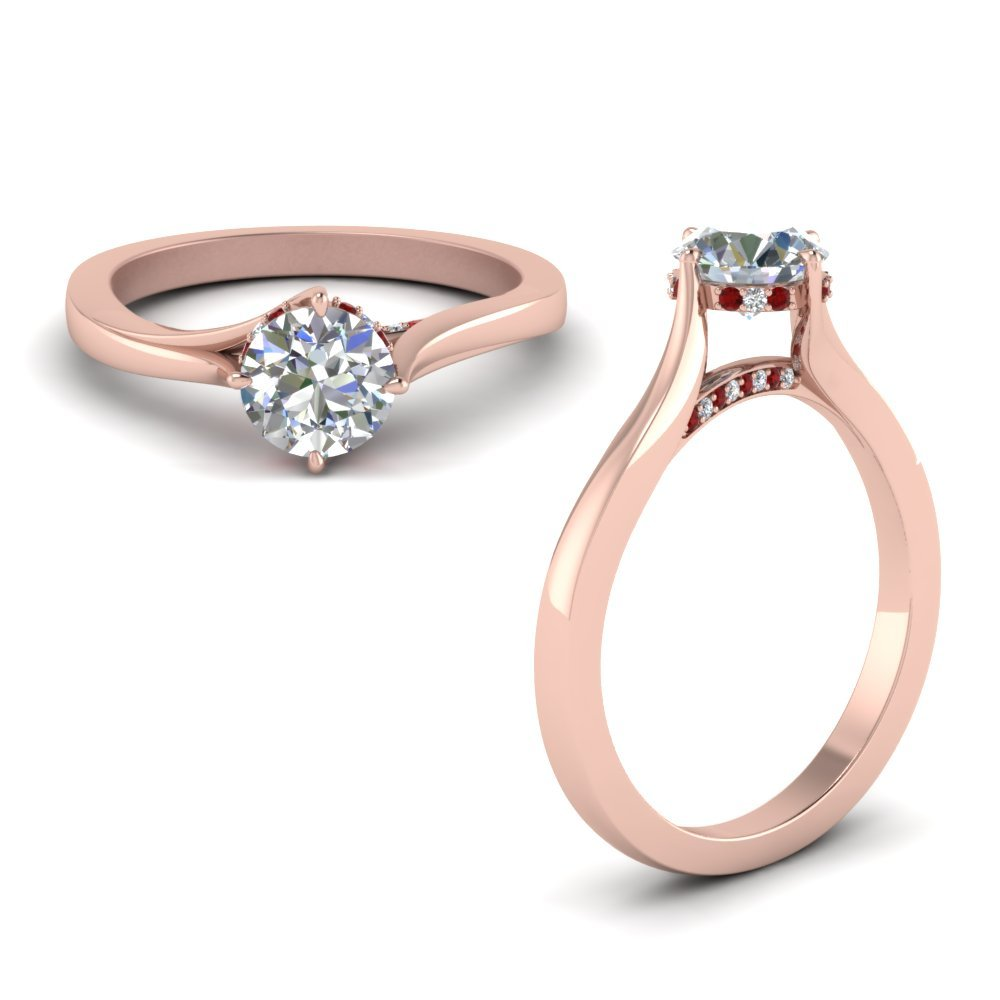 Ruby Swirl Prong Round Diamond Ring In 18K Rose Gold