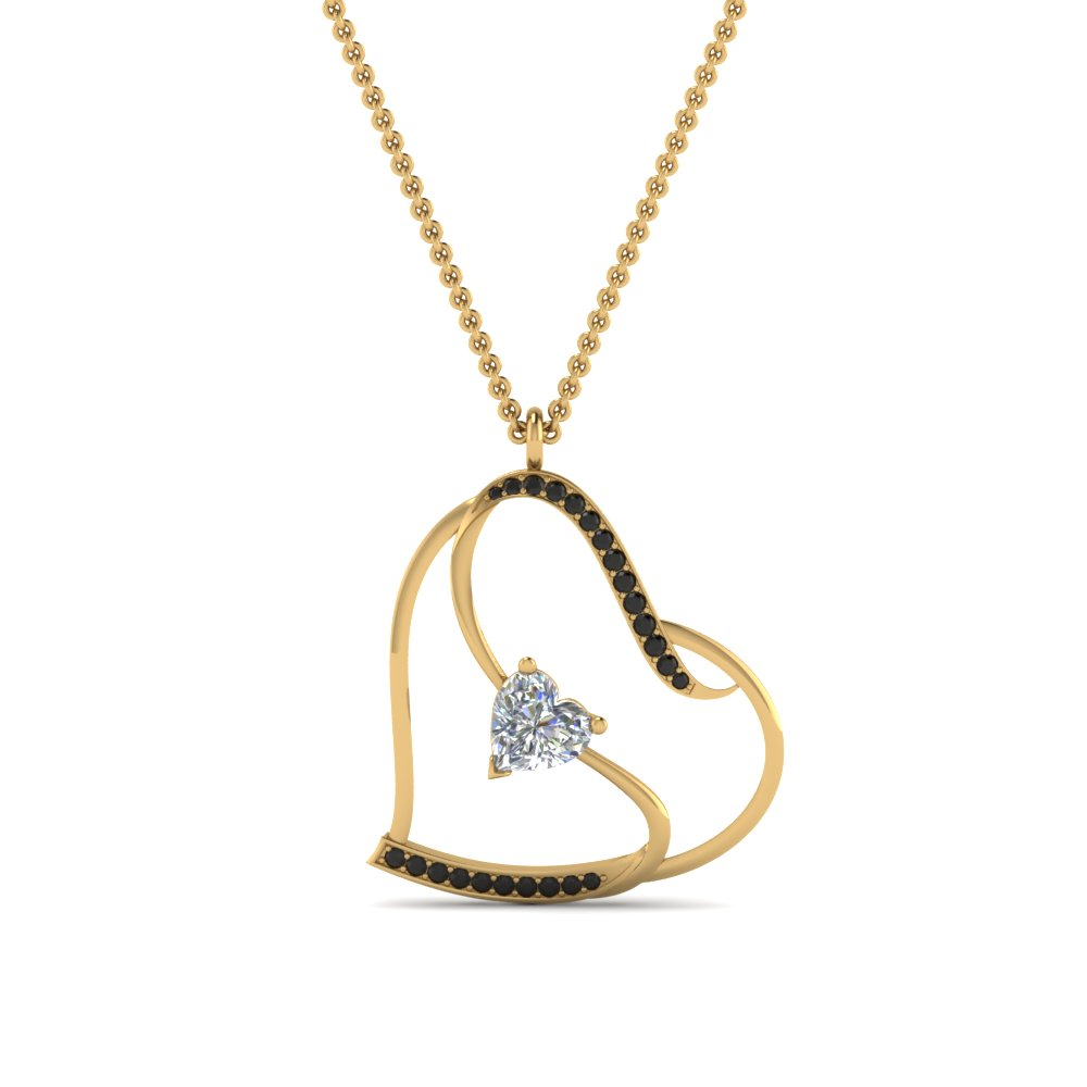 S With Heart Design Black Diamond Pendant In 14K Yellow Gold