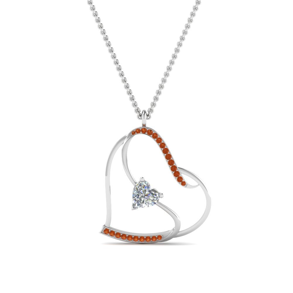 S With Heart Design Orange Sapphire Pendant In 14K White Gold