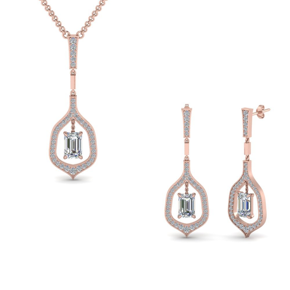 14K Rose Gold Diamond Pendant And Earring