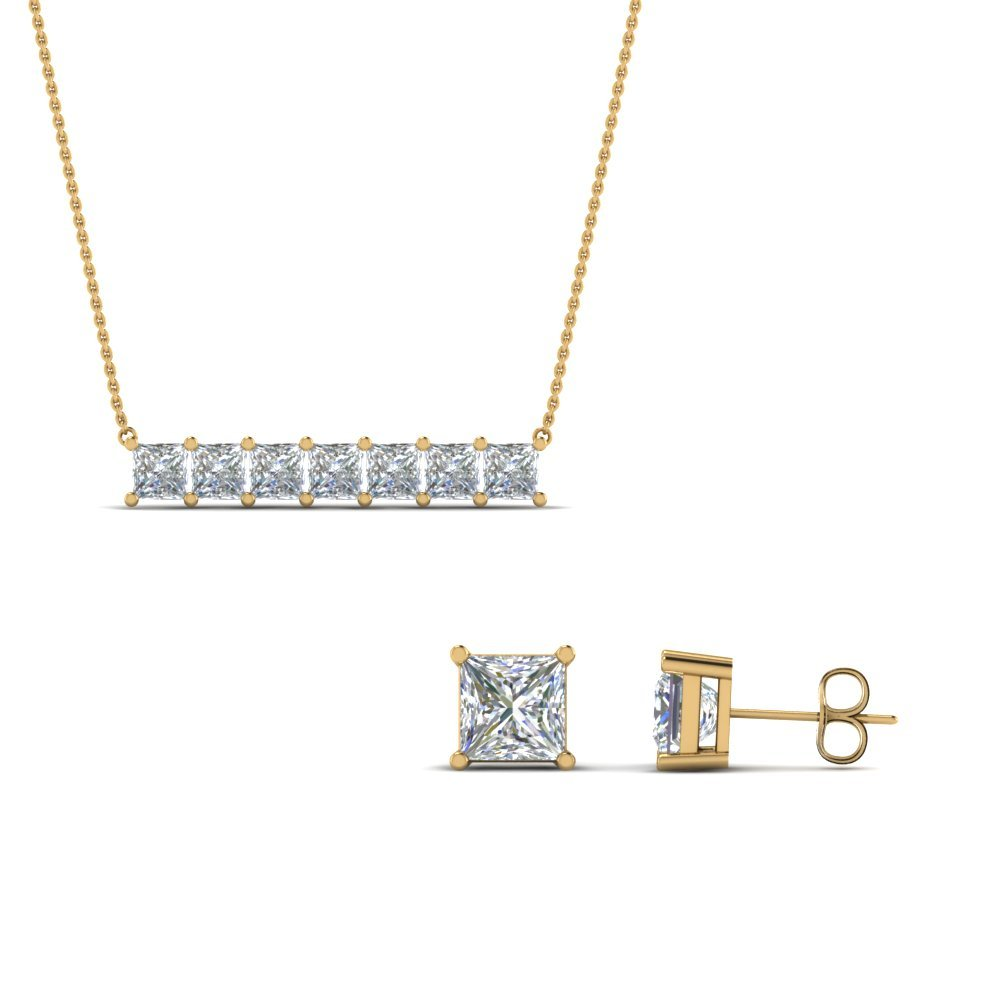 Princess Cut Earring With Pendant