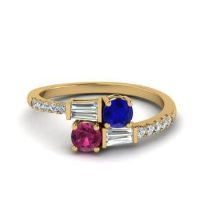 Sapphire 2 Stone Ring With baguette