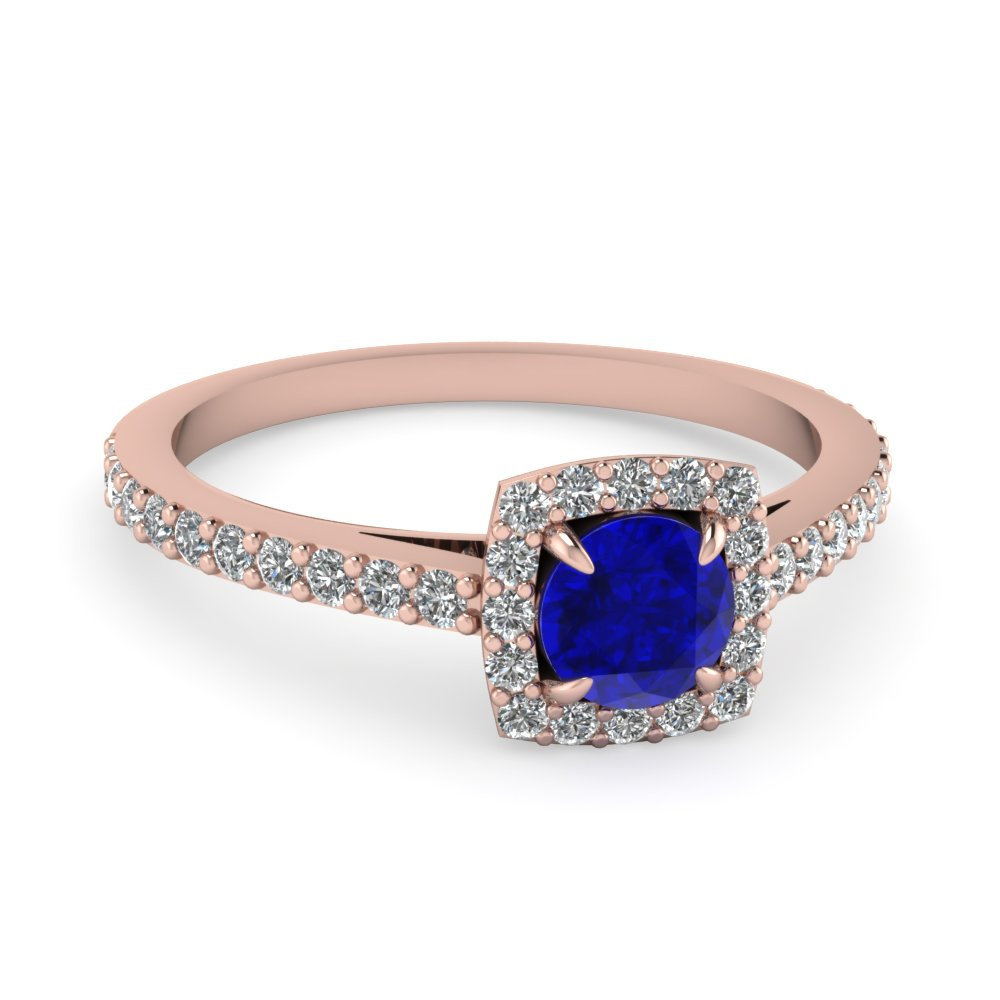 Sapphire And Square Halo Diamond Ring