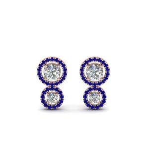 Rose Gold Sapphire Stud Earring