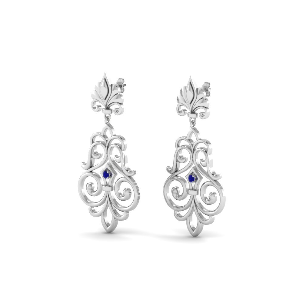 Sapphire Filigree Drop Earrings