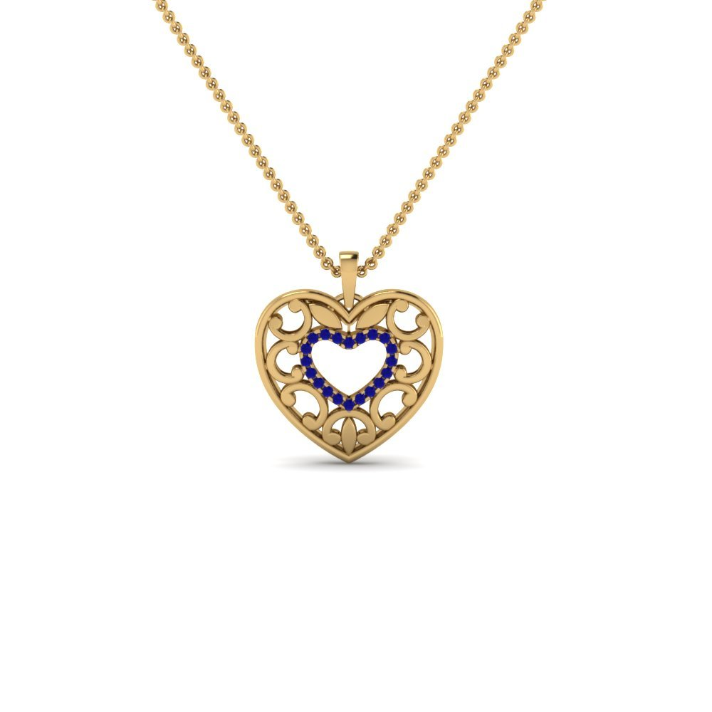 Sapphire Filigree Heart Pendant In 14K Yellow Gold