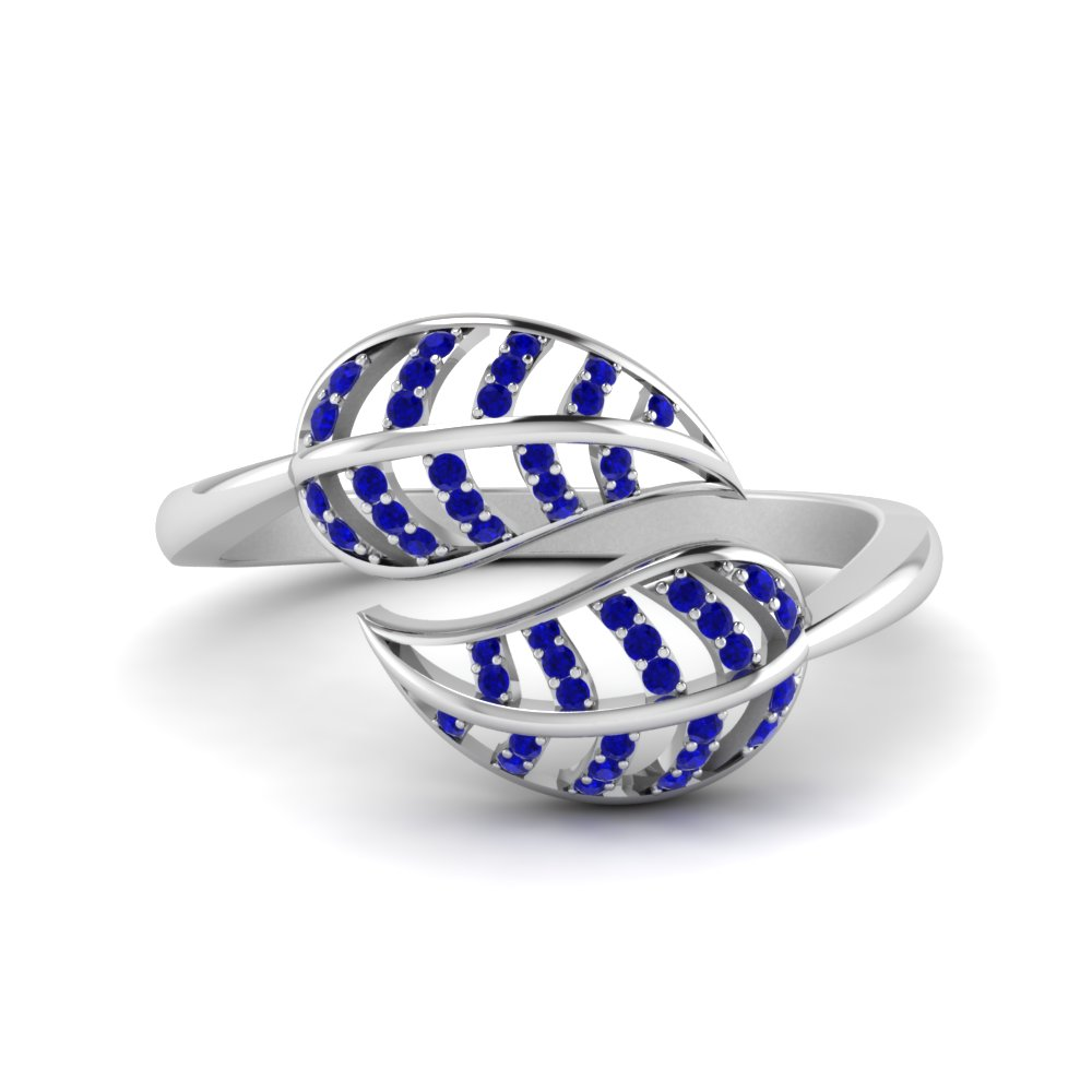 Sapphire Leaf Bypass Ring In 14K White Gold