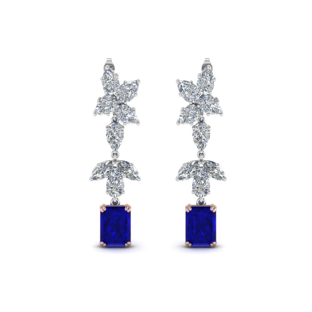 Sapphire Mom Cluster Diamond Earring 5 Carat In 14K White Gold