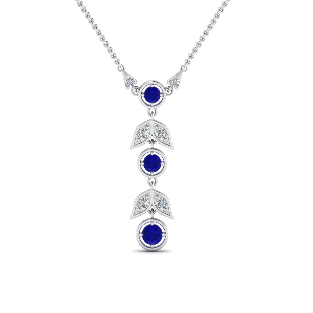Sapphire Petal Diamond Drop Necklace In 14K White Gold