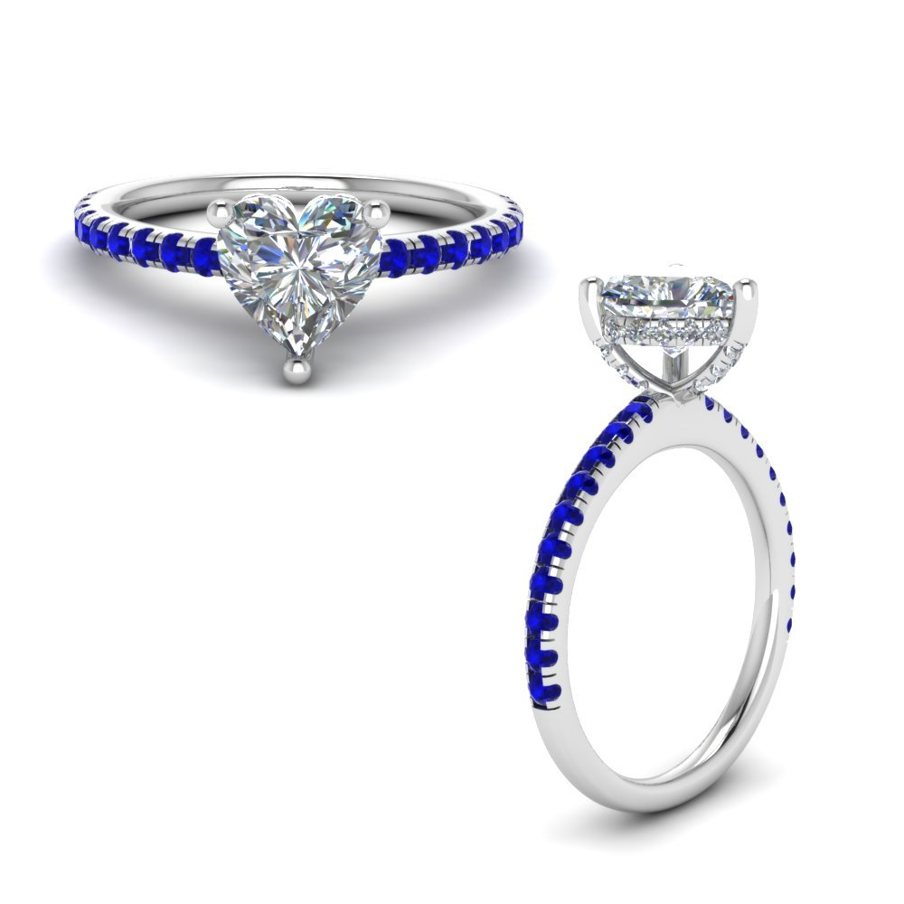 Sapphire Prong Heart Shaped Diamond Petite Engagement Ring In 14K White Gold