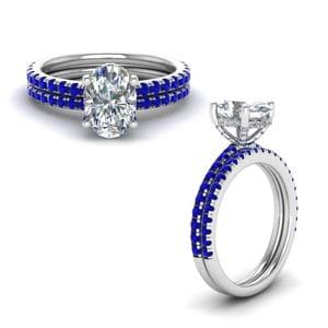 Sapphire Prong Oval Shaped Diamond Petite Bridal Set In 14K White Gold